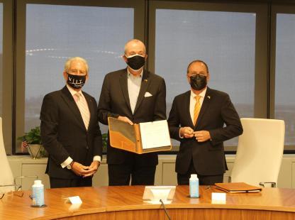 NJIT President Joel S. Bloom, N.J. Governor Phil Murphy and BGU President Daniel Chamovitz